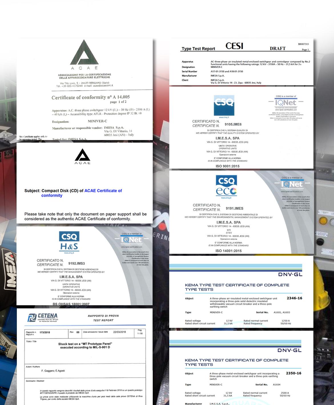 Certificazioni IMESA